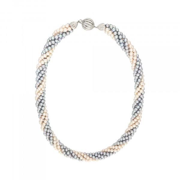Perlenkette 6 reihig mit Schloss Weißgold 585