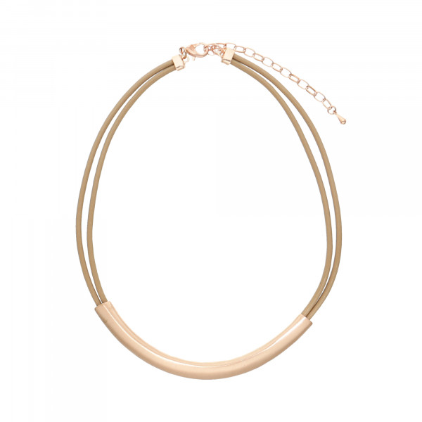 Collier Lederband 2 reihig roségoldfarbig/beige