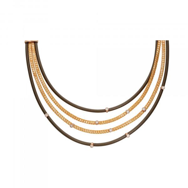 Collier Kautschuk/Kupfer braun 4-reihig mit Zirkonia