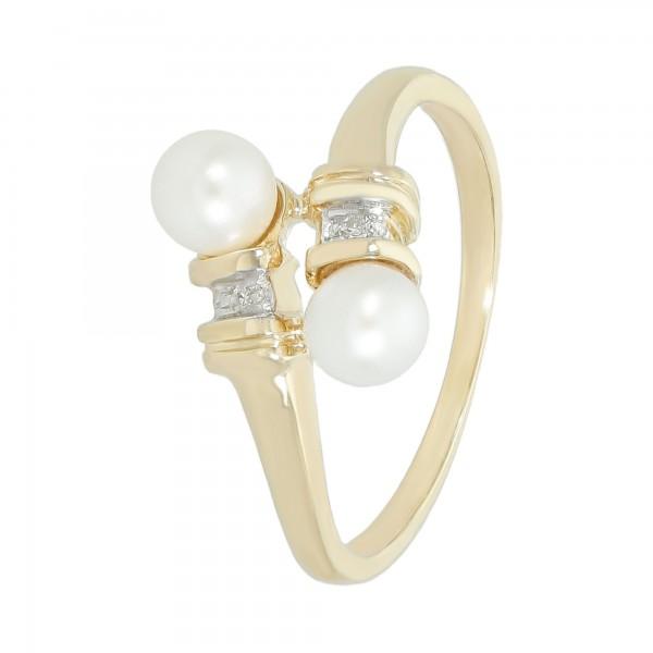 Ring 585 GG mit 2 Perlen + 2 Diamanten