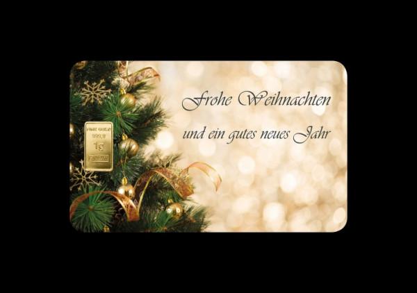 FineCard Frohe Weihnachten 1 x 1 Gramm Goldbarren