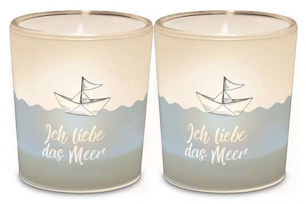 """Teelichthalter """"Ich liebe das Meer"""""""