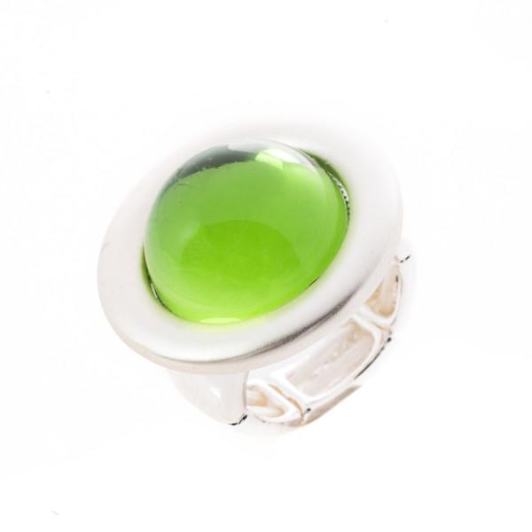 Elastik-Ring silberfarbig matt mit 1 hellgrün Stein