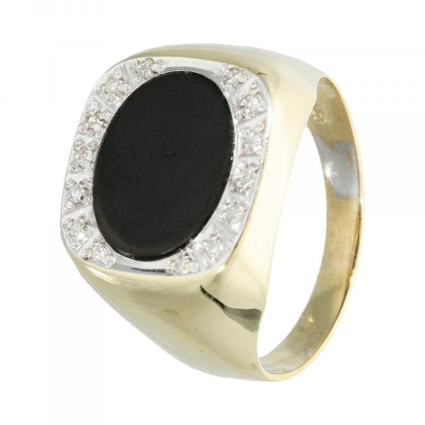 Ring 585 Gelbgold mit Onyx und Brillanten
