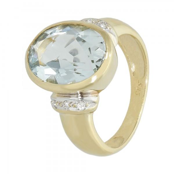 Ring 585 bicolor mit Aqua.ca.3,85 ct+ 0,06 ct