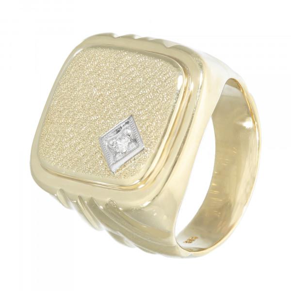 Ring 585 bicolor massiv mit Brillant ca. 0,05 ct.