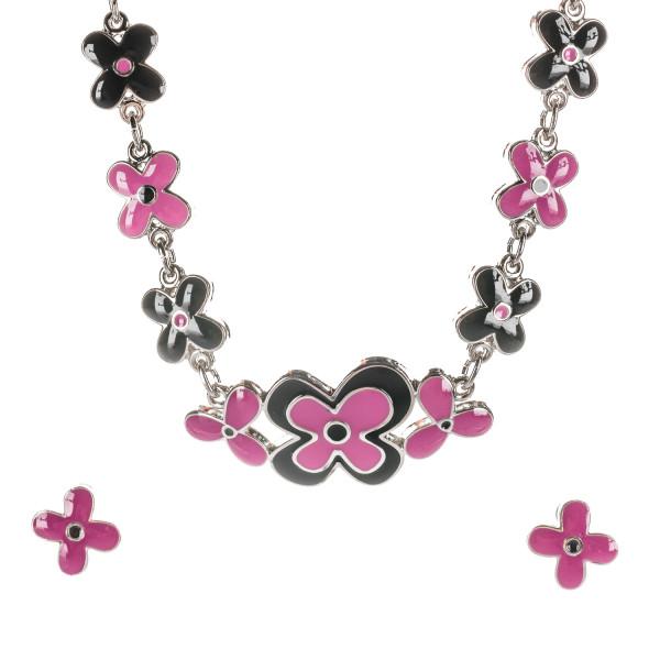 """Collier mit Emaille """"Blumen schwarz/pink"""""""