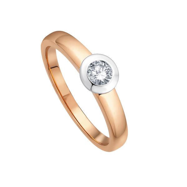 Ring 585 bicolor mit Brillant 0,10 ct.W-SI
