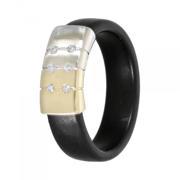 Ring Kautschuk mit Gold 585 bicolor mit Brillanten