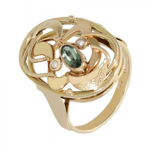 Ring 14K Gelbgold mit 1 Turmalin+ 2 kleine Perlen