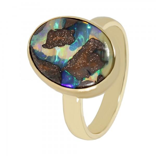 Ring 585 Gelbgold mit Boulder Opal