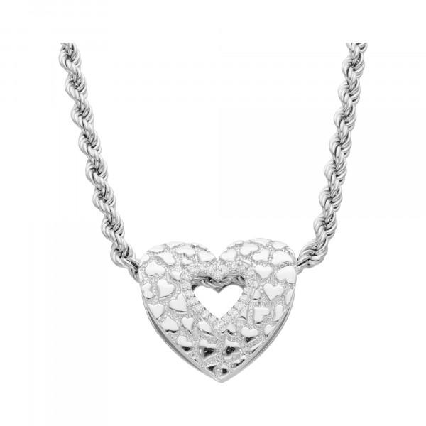 Kette Silber 925 Kordel mit Herz 50 cm