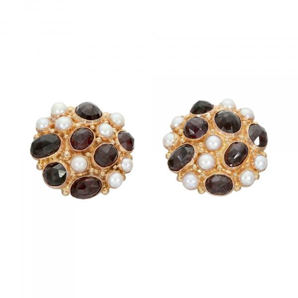 Ohrclips/Stecker 585 Gelbgold mit je 7 Granaten und 9 Perlen
