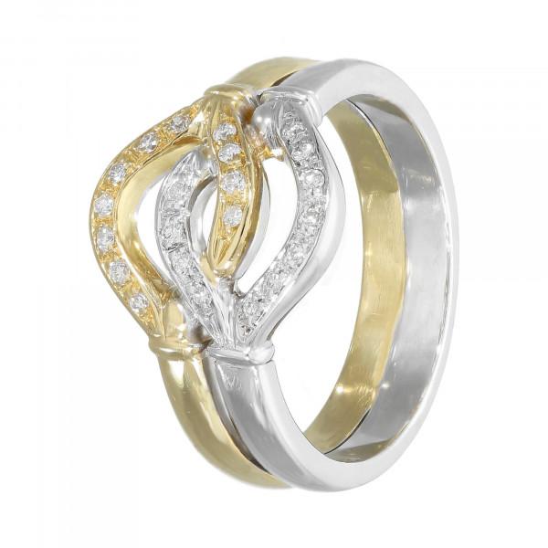 Ring 750 bicolor mit Brillant ca.0,21ct.