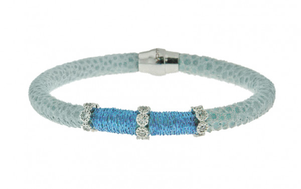 Armband Leder/ Kupfer hellblau mit Zirkonia