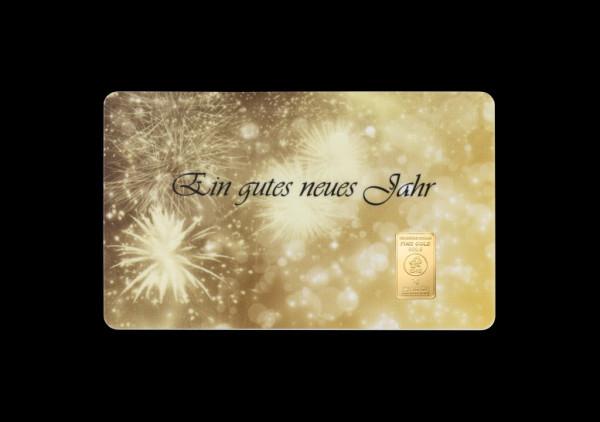 FineCard Ein gutes neues Jahr 1 x 1 Gramm Goldbarren