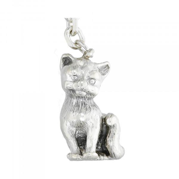 Schlüsselanhänger Silber 925 Katze
