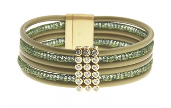 Armband Kupfer/Kautschuk 6 reihig oliv mit Zirkonia