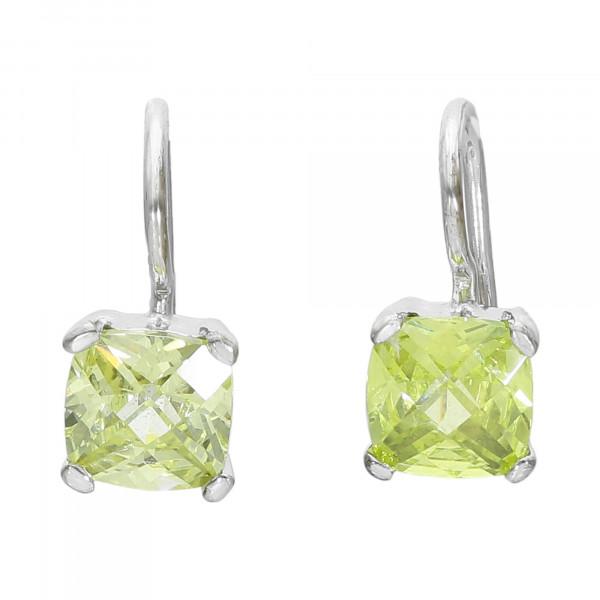 Ohrhänger Silber 925 mit grün-gelbem Lemon-Quarz in Karreeform