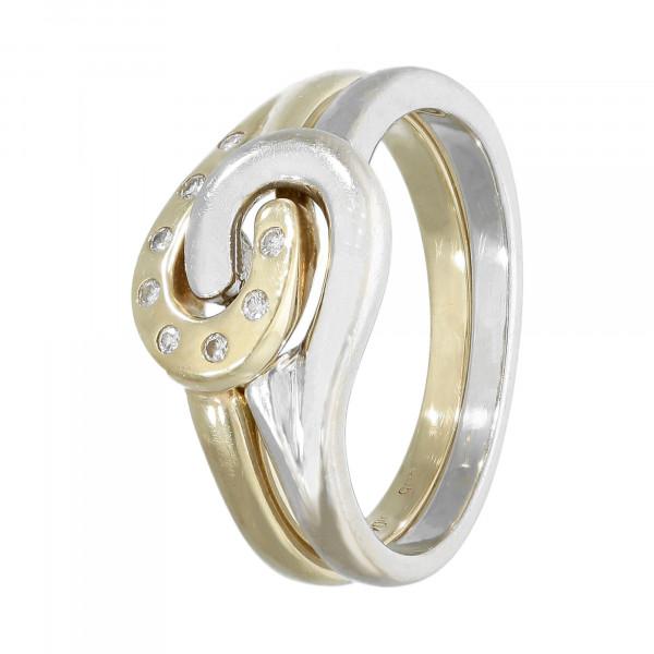 Ring 585 bicolor 2-teilig mit Brillant