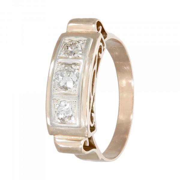 Ring 585 Gelbgold mit 3 Diamanten ca.0,45ct. Altschliff