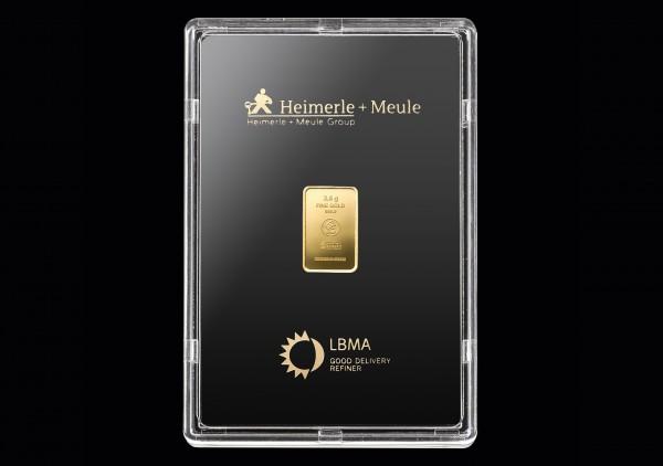 Goldbarren 2,5 Gramm H+M geprägt