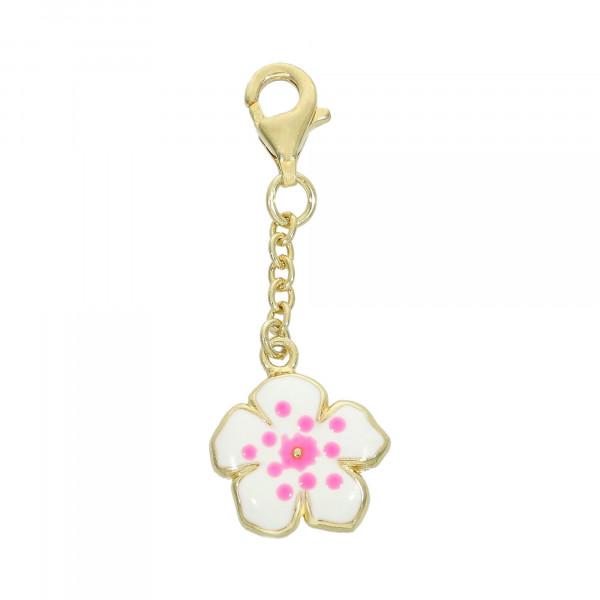 Anhänger 925 Silber vergoldet mit Blüte weiß/pink
