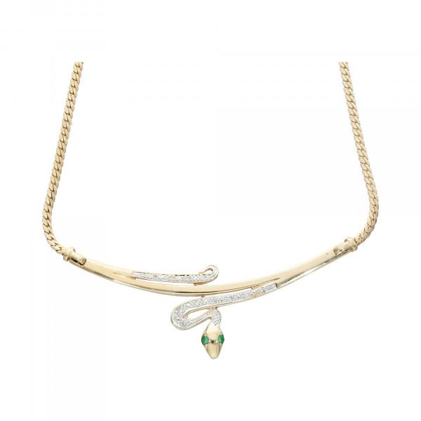 """Collier 585 bicolor 42 cm """" Schlange""""mit Diamanten und Smaragden"""