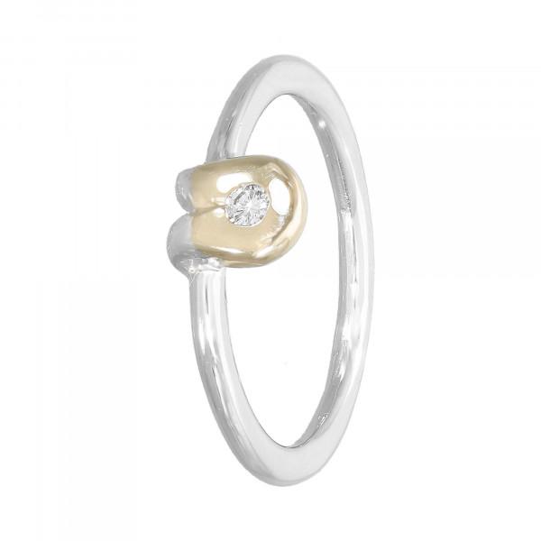 Ring 585 bicolor mit 1 Brillant ca.0,04 ct.