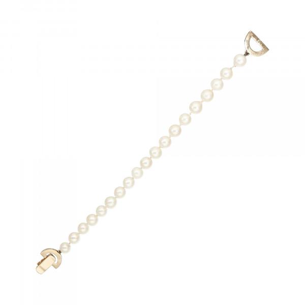 Perlenarmband einreihig mit Klappschloss Gelbgold 750