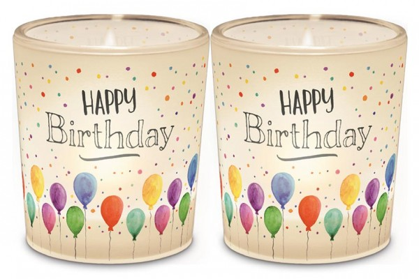 "Teelichthalter ""Happy Birthday"""