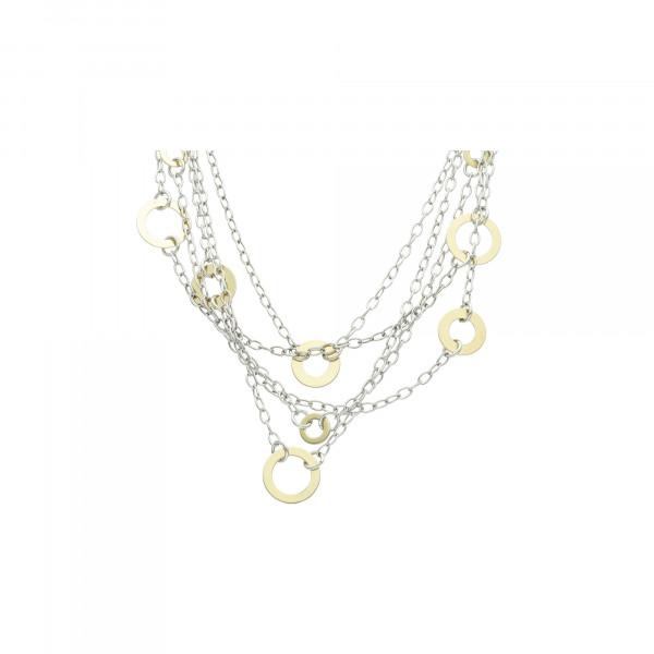 Kette Silber 925 bicolor Anker 5 reihig mit Ringen 45 cm