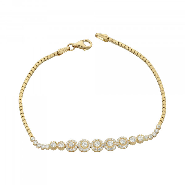 "Armband 585 Gelbgold mit Zirkonia ""Blütenform"""
