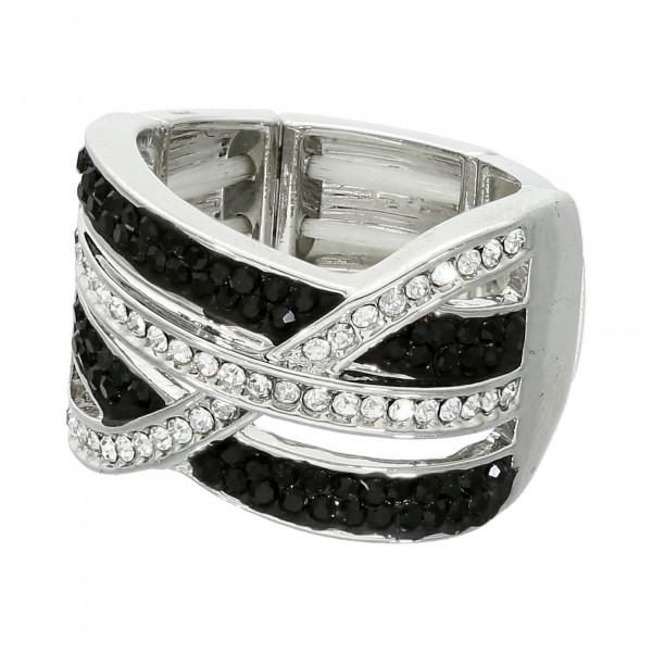 Stretch-Ring mit schwarz + weiß Kristallen
