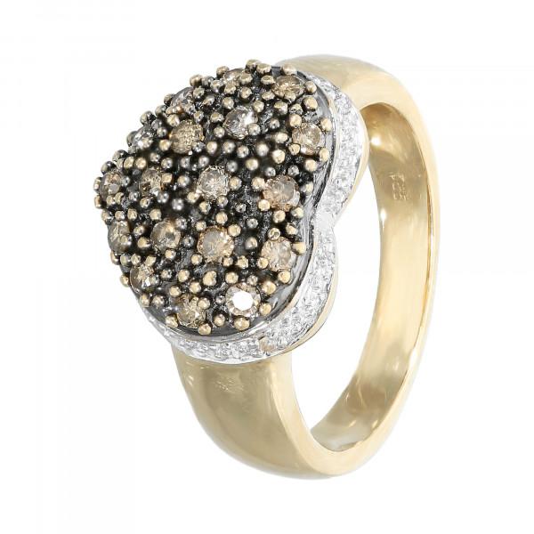 """Ring 585 bicolor mit Brillanten braun und weiß """"Herz"""""""