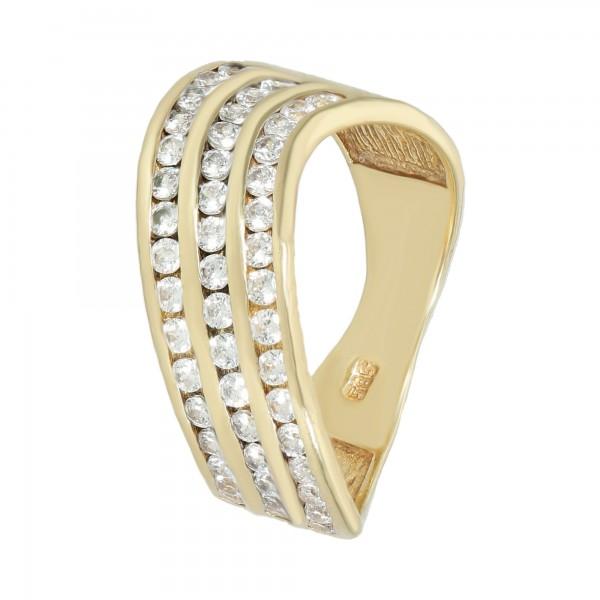 Ring 585 Gelbgold Welle mit Zirkonia