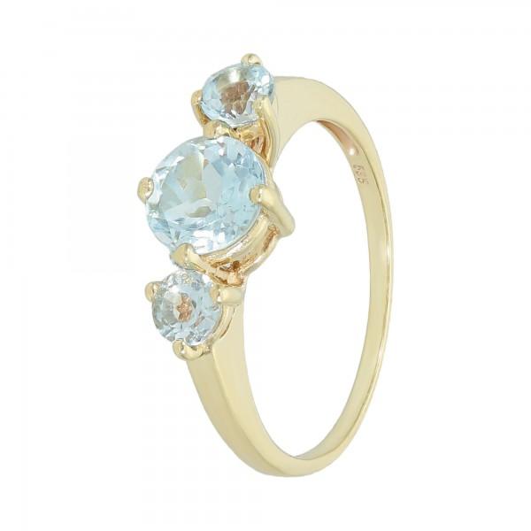 Ring 585 Gelbgold mit 3 Blautopas