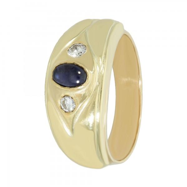 Ring 585 Gelbgold mit Saphir Cabochon und Brillanten ca. 0,25 ct.