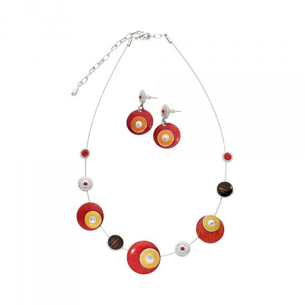 Set aus Collier & Ohrstecker mit roten runden Steinen