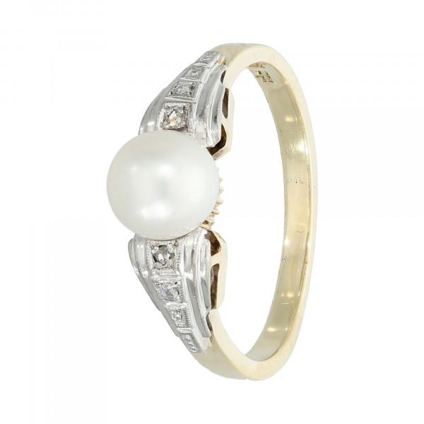 Ring 585 Gelbgold/Weißgold mit Diamant und Perle