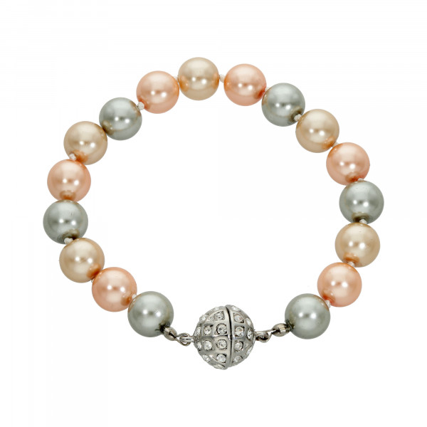 Perlenarmband lachs/apricot/grau mit Magnetverschluss silber