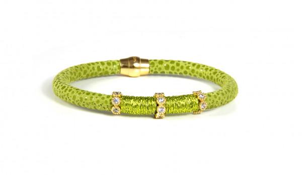 Armband Leder/ Kupfer lindgrün mit Zirkonia