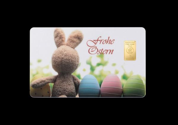 FineCard Frohe Ostern 1 x 1 Gramm Goldbarren