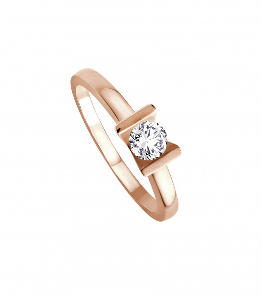 Ring 585 Roségold mit 1 Brillant 0,25 ct.W-SI