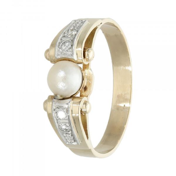 Ring 585 bicolor mit Brillant und Perle