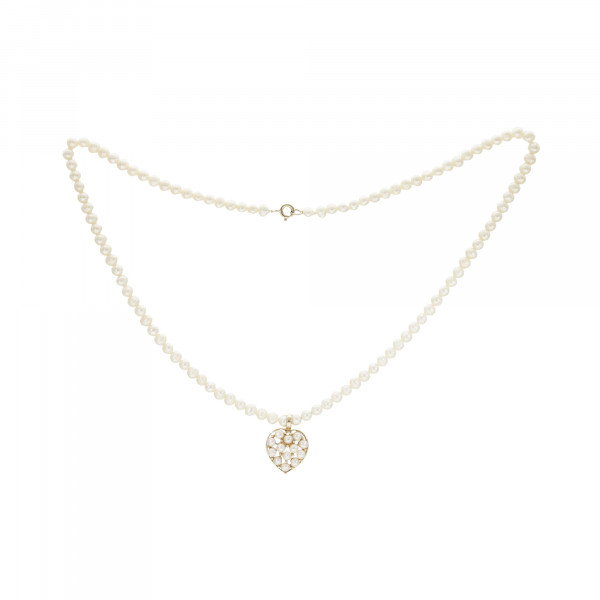 """Perlenkette einreihig mit Schloss Gelbgold 585 und Anhänger 585 """"Herz mit Perlen"""""""