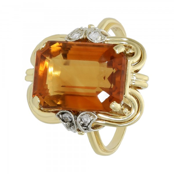 Ring 585 Gelbgold mit Citrin+4 Dia.Rosen