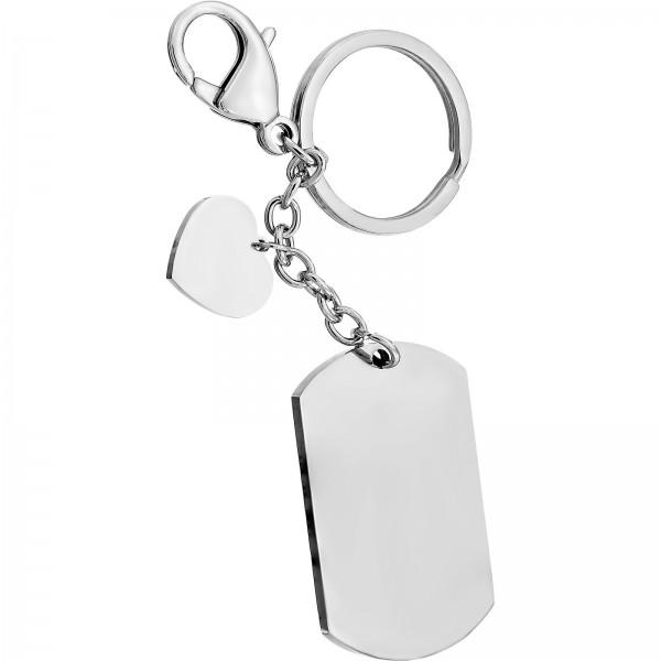 Schlüsselanhänger Edelstahl eckig mit Herz