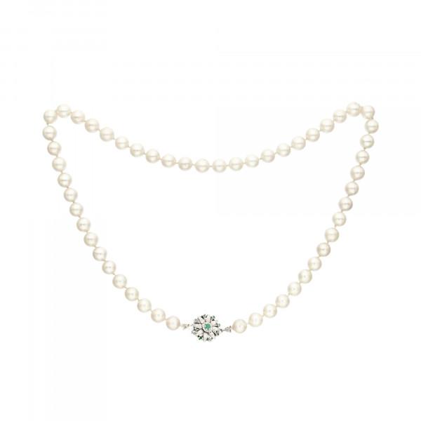 Perlenkette weiß 53 Perlen mit Schloss Weißgold 585 mit 9 Smaragden