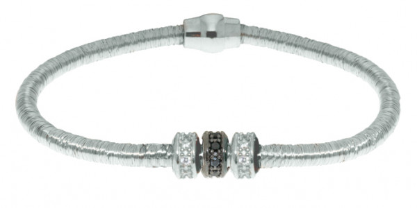 Armband Kupfer/Messing silber mit Zirkonia